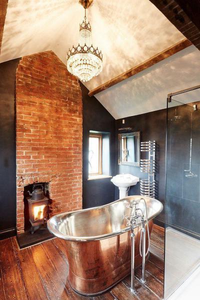 Kandalló a fürdőben - fürdő / WC ötlet, modern stílusban