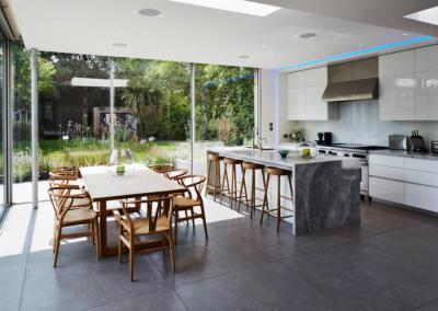 Textúrák keverése - konyha / étkező ötlet, modern stílusban