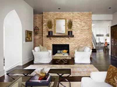 Nappali téglafallal - nappali ötlet