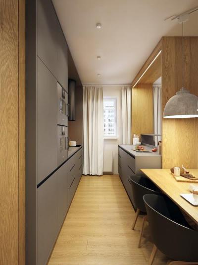 Párhuzamos konyha - konyha / étkező ötlet, modern stílusban