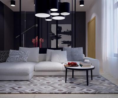 Sötét skandináv stílus - nappali ötlet, modern stílusban