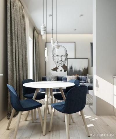 Acélkék elemek - konyha / étkező ötlet, modern stílusban