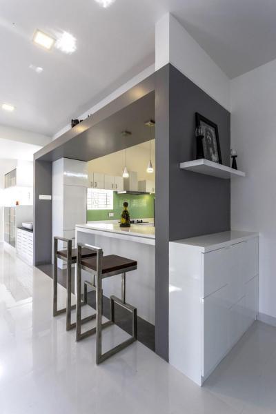 Szürke és fehér konyha - konyha / étkező ötlet, modern stílusban