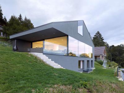 Homlokzat üvegfallal - homlokzat ötlet, modern stílusban