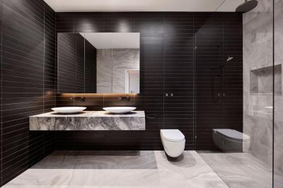 Márvány a fürdőben - fürdő / WC ötlet, modern stílusban