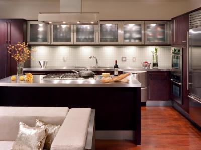 Lila konyhabútor - konyha / étkező ötlet, modern stílusban