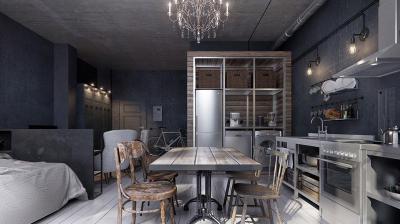 Ipari konyha - konyha / étkező ötlet, modern stílusban