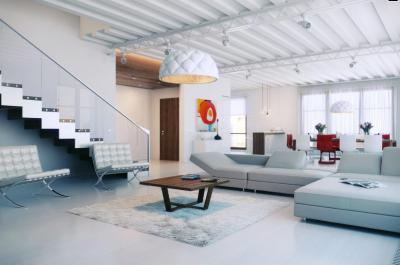 Modern fehér belső tér - nappali ötlet, modern stílusban