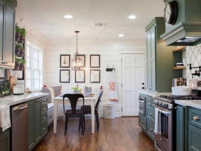 Szép, zöld konyhabútor - konyha / étkező ötlet