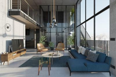 Loft nappali panorámával2 - nappali ötlet, modern stílusban