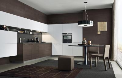 Barna fehér konyha - konyha / étkező ötlet, modern stílusban
