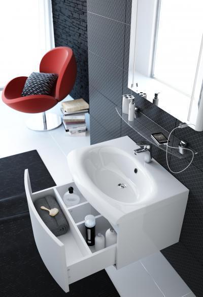 Mosdó fiókos szekrénnyel - fürdő / WC ötlet, modern stílusban