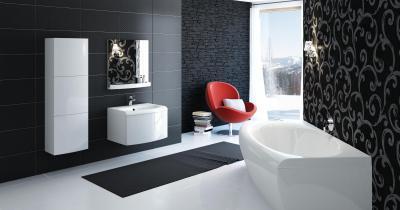 Fürdőszoba mintás falakkal - fürdő / WC ötlet, modern stílusban