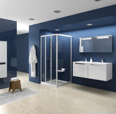 Kék fürdőszoba - fürdő / WC ötlet, modern stílusban