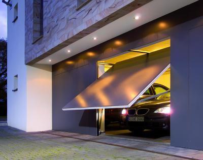 Billenő garázskapu - garázs ötlet, modern stílusban