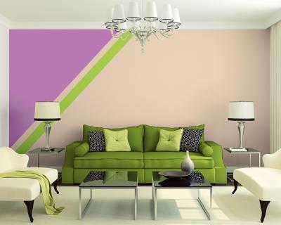 Csíkos falak - nappali ötlet, klasszikus stílusban