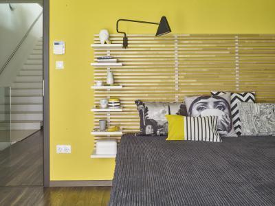 Sárga szürke hálószoba - háló ötlet, modern stílusban
