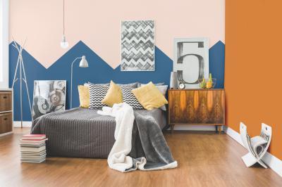 Színes fal a hálószobában - háló ötlet