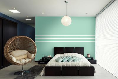 Kék fal a hálószobában - háló ötlet, modern stílusban