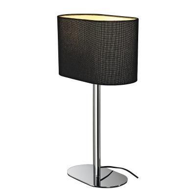 Fekete (textil / műanyag / acél) asztali lámpatest - nappali ötlet, modern stílusban