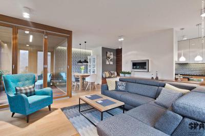 Kék bútorok a nappaliban - nappali ötlet