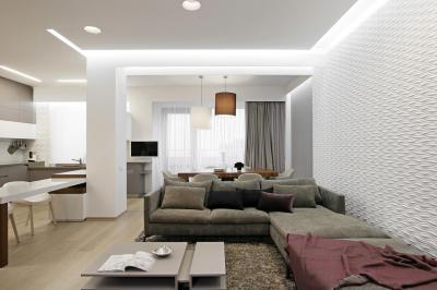 Fehér falak a nappaliban - nappali ötlet, modern stílusban