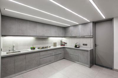 Szürke konyhabútor - konyha / étkező ötlet, modern stílusban