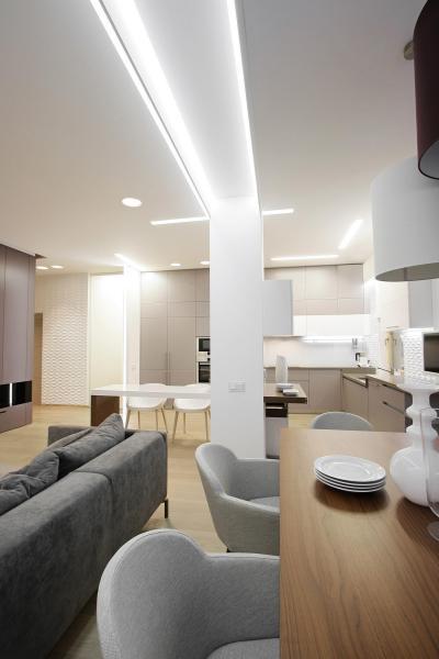 Egyterű konyha nappalival - nappali ötlet, modern stílusban