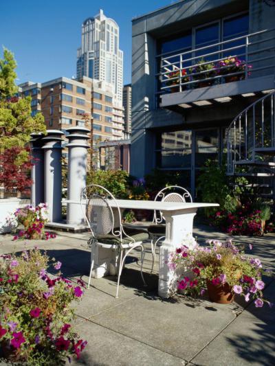 Nagyvárosi tetőkert - erkély / terasz ötlet, modern stílusban