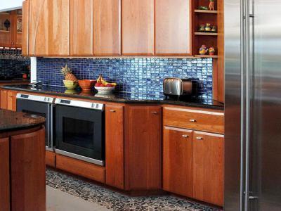 Kék mozaik - konyha / étkező ötlet, modern stílusban