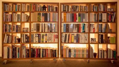 Gördülő könyvek - nappali ötlet, modern stílusban