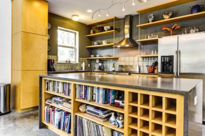 Könyvek a konyhaszigetben - konyha / étkező ötlet, modern stílusban