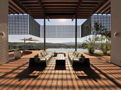 Fedett terasz kanapéval - erkély / terasz ötlet, modern stílusban
