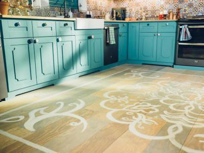 Festett padló - konyha / étkező ötlet