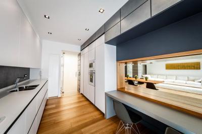 Keskeny konyha - konyha / étkező ötlet, modern stílusban