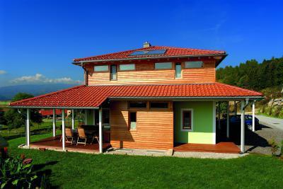 TONDACH® Rumba kerámia tetőcserép piros színben - tető ötlet, modern stílusban