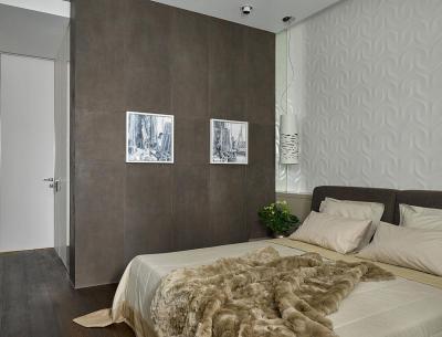 Szőrmés ágytakaró és 3D falburkolat - háló ötlet, modern stílusban