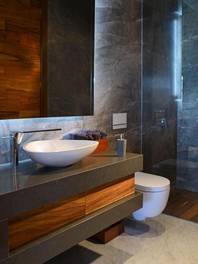 Különleges falburkolat - fürdő / WC ötlet, modern stílusban