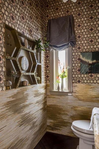 Aranymozaik - fürdő / WC ötlet, modern stílusban