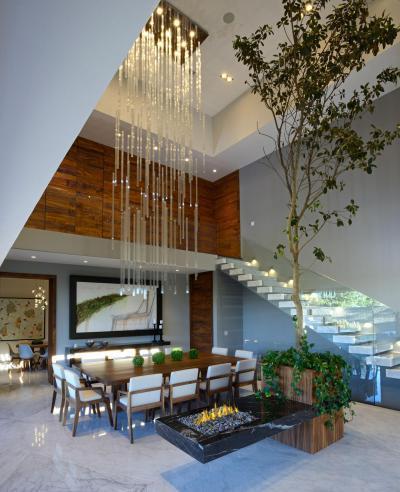 Étkezőasztal a lépcső alatt - nappali ötlet, modern stílusban
