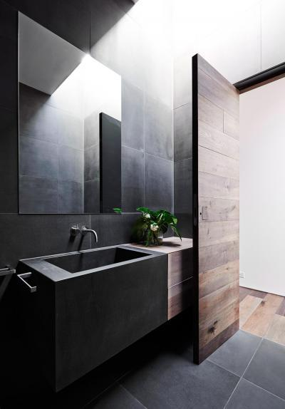 Minimál fürdőszoba design mosdóval - fürdő / WC ötlet, minimál stílusban