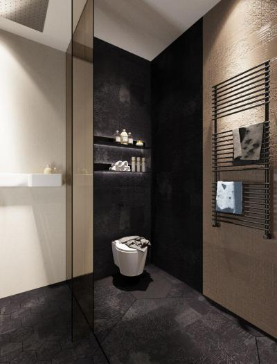 Fekete burkolat a vécében - fürdő / WC ötlet, modern stílusban