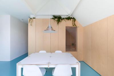 Kék padló - konyha / étkező ötlet, modern stílusban