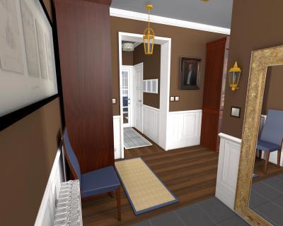 Előszoba barna fallal - előszoba ötlet, klasszikus stílusban