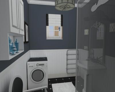 Fürdőszoba szürke fallal - fürdő / WC ötlet, klasszikus stílusban