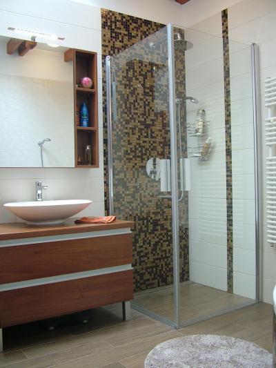 Modern fürdő zuhanyfülkével - fürdő / WC ötlet, modern stílusban