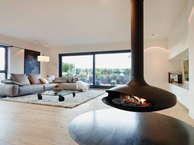 Nappali különleges kandallóval - nappali ötlet, modern stílusban