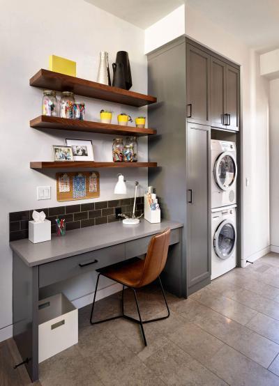 Dolgozósarok a mosókonyhában - dolgozószoba ötlet, modern stílusban