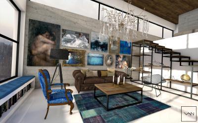 Modern nappali látszóbetonnal - terv - nappali ötlet, modern stílusban