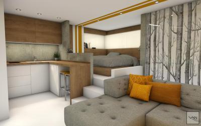 Kis lakás sok ötlettel - nappali ötlet, modern stílusban